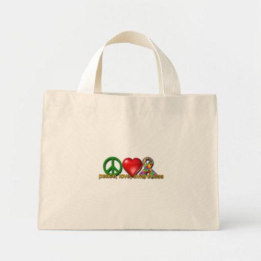 Peace Love Awareness Mini Tote Bag