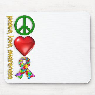 Peace Love Awareness Mouse Pad