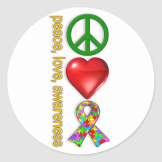 Peace Love Awareness Classic Round Sticker