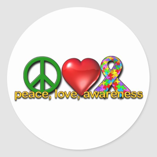 Peace Love Awareness Stickers