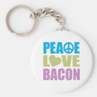 Peace Love Bacon Basic Round Button Keychain