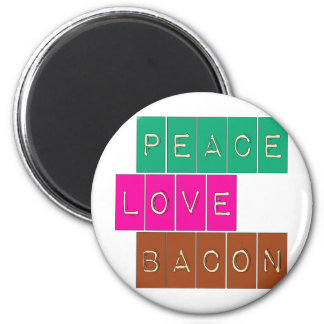 Peace Love Bacon Bright Colors Design 2 Inch Round Magnet