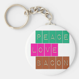 Peace Love Bacon Bright Colors Design Basic Round Button Keychain