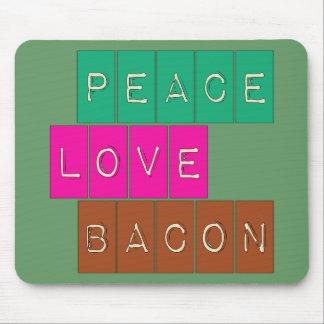 Peace Love Bacon Bright Colors Design Mousepads