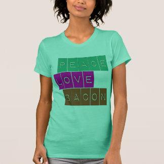 Peace Love Bacon Bright Colors Design T-Shirt