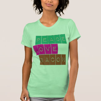Peace Love Bacon Bright Colors Design Tshirts
