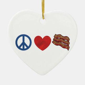 Peace Love Bacon Ceramic Ornament