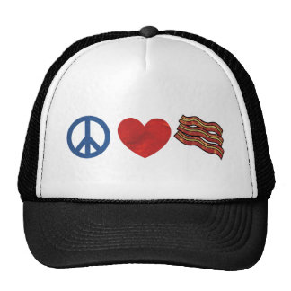 Peace Love Bacon Hats