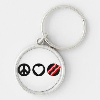 Peace Love Bacon Keychain