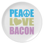 Peace Love Bacon Melamine Plate