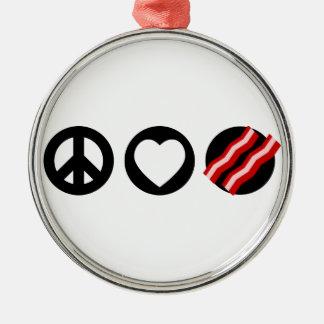Peace Love Bacon Christmas Tree Ornaments