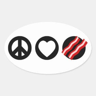 Peace Love Bacon Oval Sticker