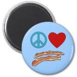 Peace Love Bacon Symbology Tshirt, Mug 2 Inch Round Magnet