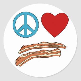 Peace Love Bacon Symbology Tshirt, Mug Classic Round Sticker