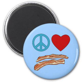 Peace Love Bacon Symbology Tshirt, Mug Magnet