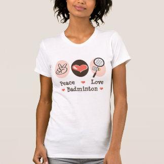 Peace Love Badminton Distressed Tee Shirt