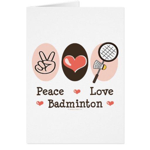 Peace Love Badminton Greeting Card