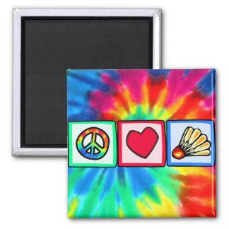 Peace, Love, Badminton Magnet