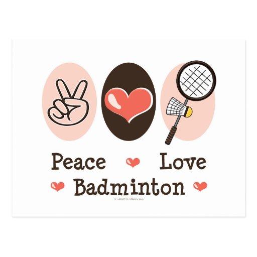 Peace Love Badminton Postcard