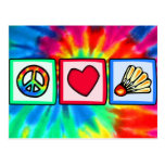 Peace, Love, Badminton Postcard