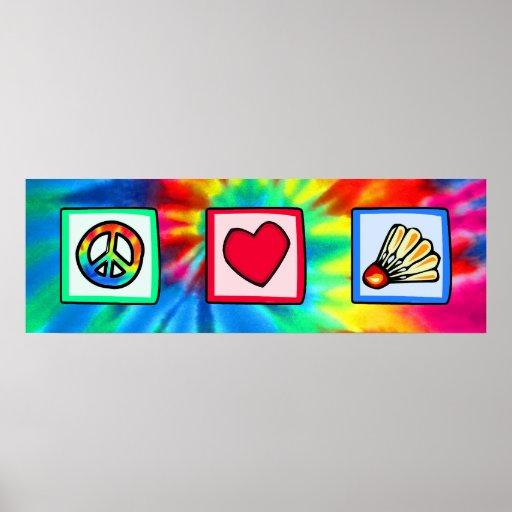 Peace, Love, Badminton Poster