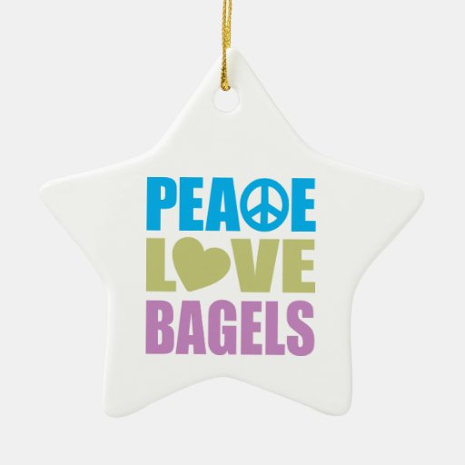 Peace Love Bagels Double-Sided Star Ceramic Christmas Ornament