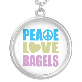 Peace Love Bagels Silver Plated Necklace