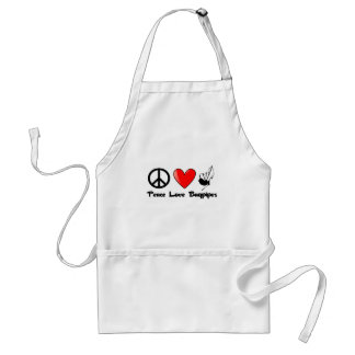 Peace, Love, Bagpipes Adult Apron