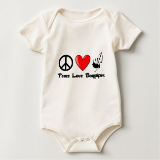 Peace, Love, Bagpipes Baby Bodysuit