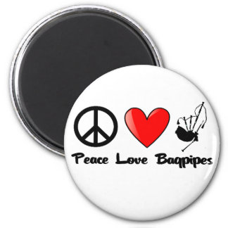 Peace, Love, Bagpipes Magnet