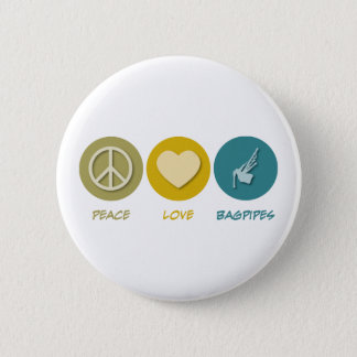 Peace Love Bagpipes Pinback Button