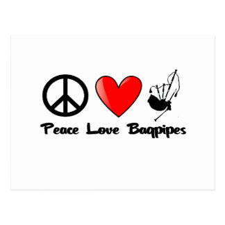 Peace, Love, Bagpipes Postcard