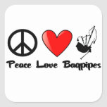 Peace, Love, Bagpipes Stickers