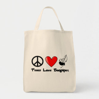 Peace, Love, Bagpipes Tote Bag