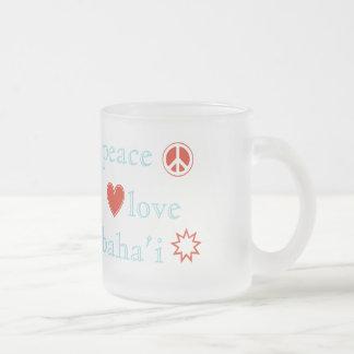 Peace Love Bahai Frosted Glass Coffee Mug