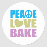 Peace Love Bake Classic Round Sticker