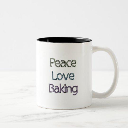 Peace, Love, Baking Two-Tone Coffee Mug