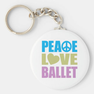 Peace Love Ballet Basic Round Button Keychain