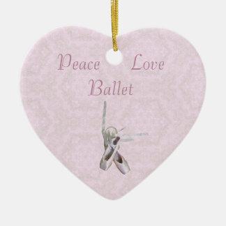 'Peace, Love & Ballet' Lace Heart Ornament