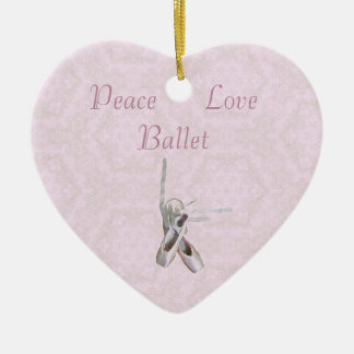 'Peace, Love & Ballet' Lace Heart Ornament Ceramic Heart Ornament