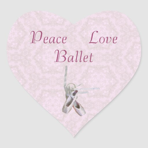 'Peace, Love & Ballet' Lace Heart Stickers