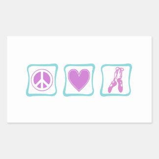 Peace Love Ballet Squares Rectangular Sticker