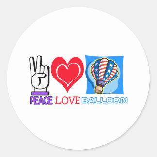 PEACE LOVE BALLOON CLASSIC ROUND STICKER