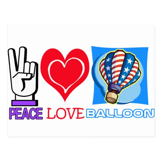 PEACE LOVE BALLOON POSTCARD