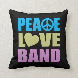 Peace Love Band Throw Pillow