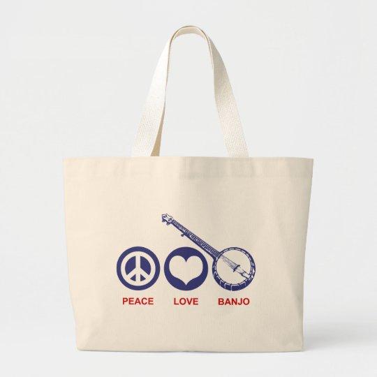 Peace Love Banjo Large Tote Bag