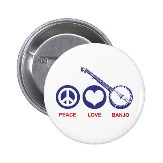 Peace Love Banjo Pinback Buttons
