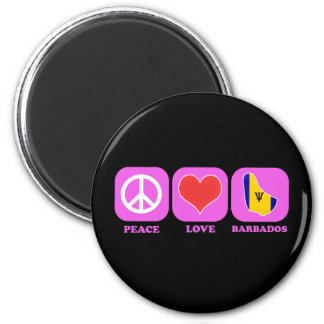 Peace Love Barbados 2 Inch Round Magnet