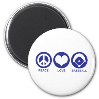Peace Love Baseball 2 Inch Round Magnet