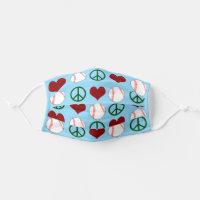 Peace Love Baseball Adult Cloth Face Mask